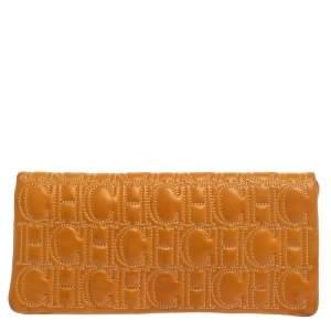 Carolina Herrera Mustard Monogram Embossed Leather Flap Clutch