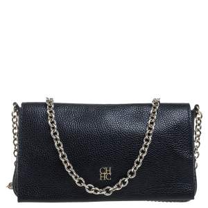 Carolina Herrera Navy Blue Leather Flap Crossbody Bag