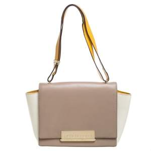Carolina Herrera Tri Color Leather Flap Shoulder Bag