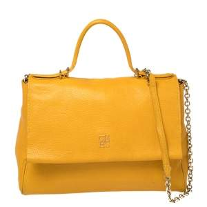 Carolina Herrera Yellow Leather Minuetto Flap Top Handle Bag