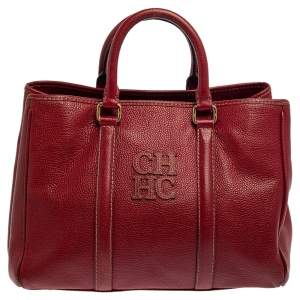Carolina Herrera Red Leather Matteo Tote