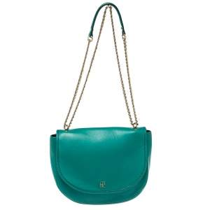 Carolina Herrera Green Leather Saddle Crossbody Bag