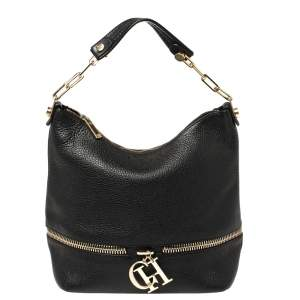 Carolina Herrera Black Leather Zipped Hobo