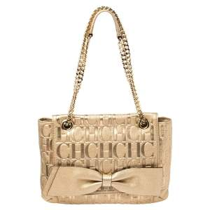Carolina Herrera Gold Monogram Leather Audrey Shoulder Bag