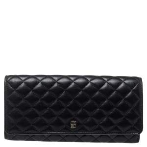 Carolina Herrera Black Quilted Leather Flap Wallet