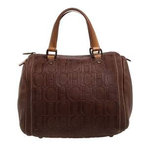 Carolina Herrera Brown Leather Monogram Embossed Andy Boston Bag