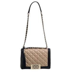 Carolina Herrera Beige/Black Quilted Leather Flap Shoulder Bag
