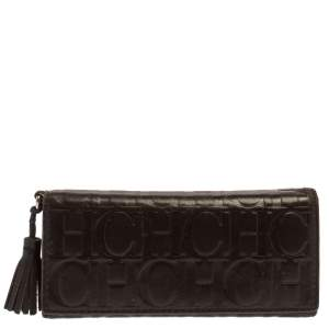 Carolina Herrera Dark Brown Monogram Leather Continental Wallet