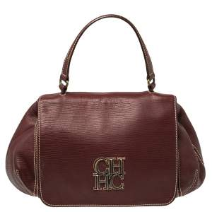 Carolina Herrera Burgundy Leather Flap Top Handle Bag