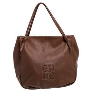 Carolina Herrera Brown Leather Hobo