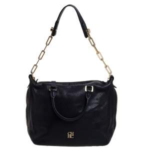 Carolina Herrera Black Leather Zip Satchel