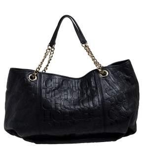 Carolina Herrera Black Monogram Leather Chain Hobo