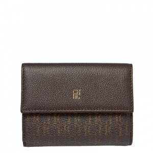Carolina Herrera Brown Monogram Leather Tri Fold Compact Wallet