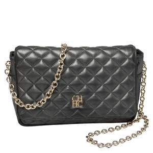 Carolina Herrera Dark Grey Quilted Leather Flap Chain Bag