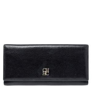 Carolina Herrera Black Leather Flap Continental Wallet