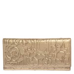 Carolina Herrera Gold Floral Embossed Leather Trifold Continental Wallet