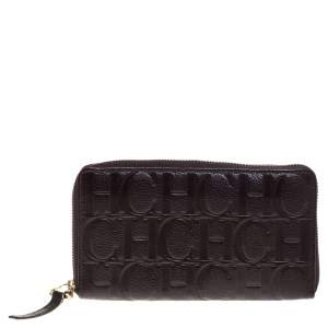 Carolina Herrera Brown Monogram Leather Zip Around Wallet