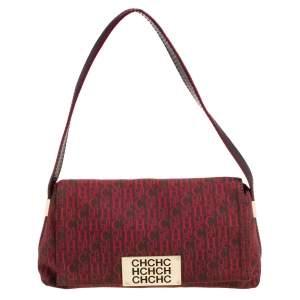 Carolina Herrera Red Monogram Canvas and Leather Shoulder Bag