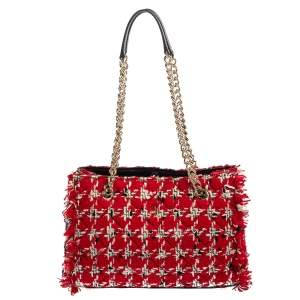 Carolina Herrera Red/Black Tweed and Leather Chain Tote