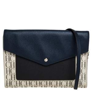Carolina Herrera Multicolor Monogram Coated Canvas and Leather Envelope Flap Shoulder Bag