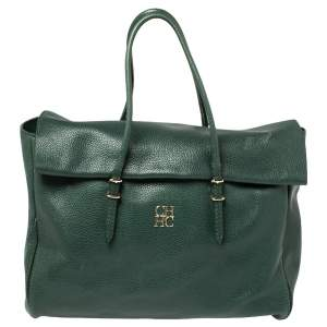 Carolina Herrera Green Leather Flap Tote