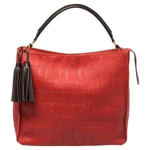 Carolina Herrera Red Monogram Embossed Leather Tassel Hobo