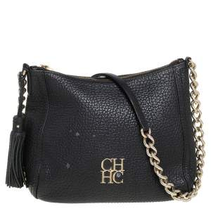 Carolina Herrera Black Leather Chain Tassel Shoulder Bag