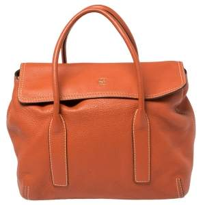 Carolina Herrera Burnt Orange Grained Leather Flap Tote