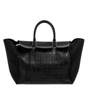 حقيبة يد كارولينا هيريرا فيندوم جلد مطبوع مونوغرامي أسود