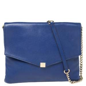 Carolina Herrera Blue Leather Chain Flap Shoulder Bag