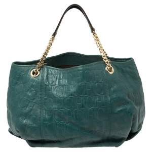 Carolina Herrera Green Monogram Leather Chain Hobo
