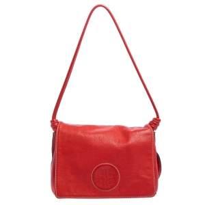 Carolina Herrera Red Leather Flap Shoulder Bag