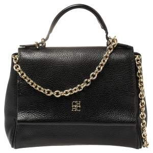 Carolina Herrera Black Leather Minueto Top Handle Bag