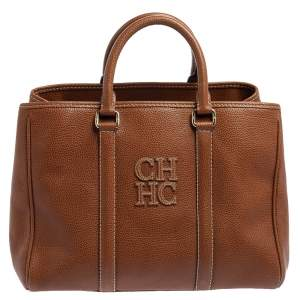 Carolina Herrera Brown Leather Matteo Tote