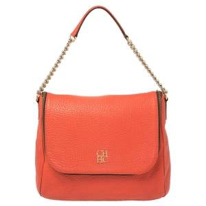 Carolina Herrera Orange Leather Zip Hobo