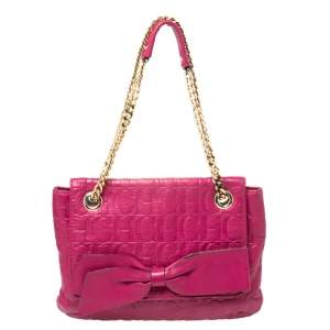 Carolina Herrera Fuchsia Monogram Leather Audrey Shoulder Bag