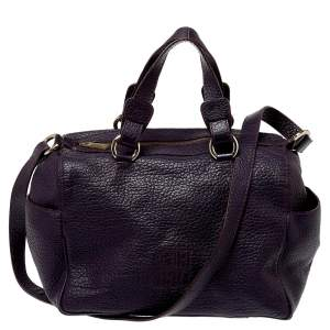 Carolina Herrera Dark Purple Grained Leather Boston Bag