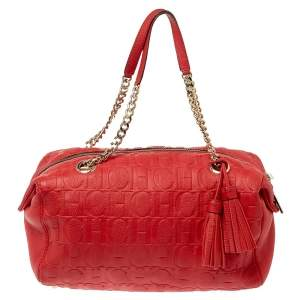 Carolina Herrera Red Embossed Leather Tassel Satchel