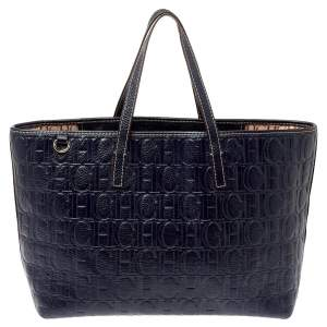 Carolina Herrera Navy Blue Monogram Embossed Leather Shopper Tote