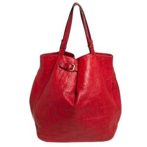 Carolina Herrera Red Monogram Leather Matryoshka Tote