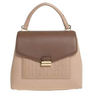 Carolina Herrera Beige/Brown Monogram Embossed Leather Top Handle Bag