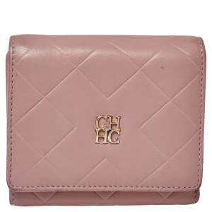 Carolina Herrera Nude Pink Quilted Leather Logo Flap Trifold Wallet