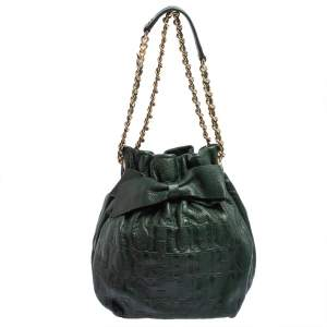 Carolina Herrera Dark Green Monogram Embossed Leather Bow Bucket Shoulder Bag