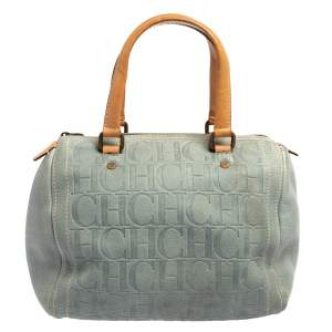 Carolina Herrera Powder Blue Monogram Embossed Leather Andy Boston Bag