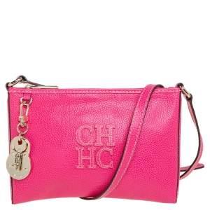 Carolina Herrera Pink Leather Key Charm Crossbody Bag