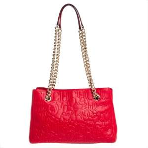 Carolina Herrera Red Embossed Leather Chain Tote