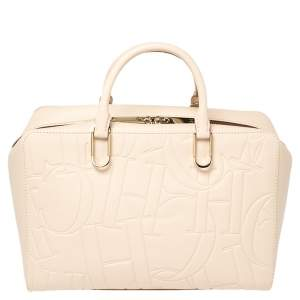 Carolina Herrera Ivory Embossed Leather Duke Satchel