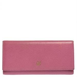 Carolina Herrera Pink Leather Flap Continental Wallet