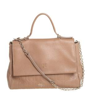 Carolina Herrera Beige Leather Minuetto Flap Top Handle Bag