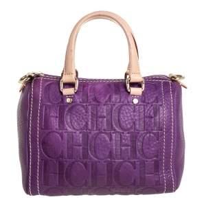 Carolina Herrera Purple Monogram Leather Mini Andy Crossbody Bag